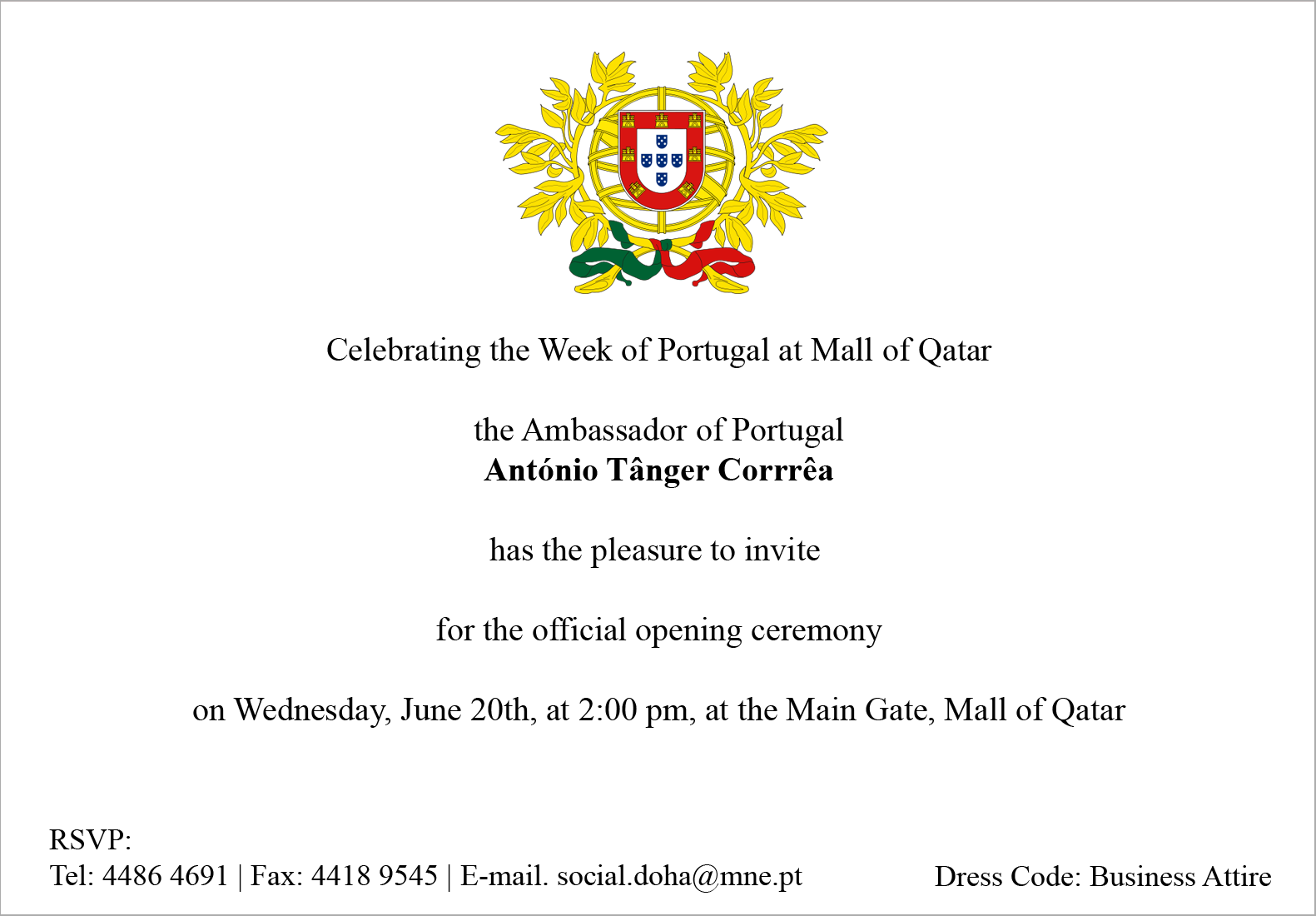 e invitation open ceremony portugal week mall of qatar
